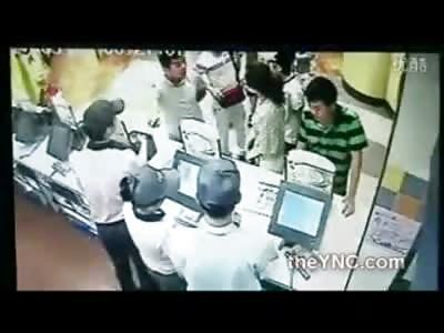 Teen Girl and Friend Beaten by Korean Thugs in a KFC